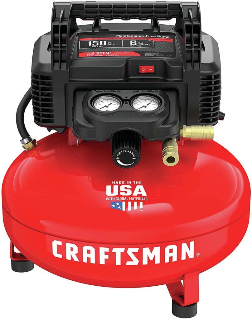 The Craftsman 6 gallon air compressor is portable and powerful.